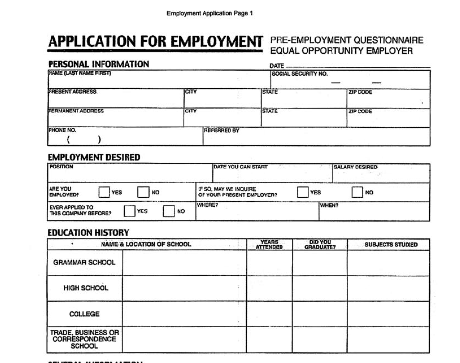 Application of Employment